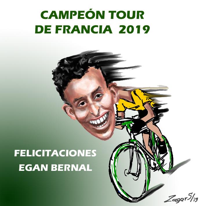 Caricatura Egan Bernal campeón tour de Francia 2019